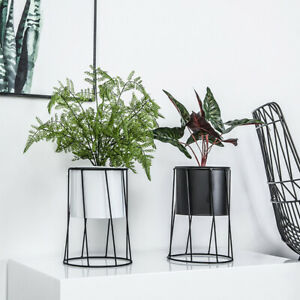 Garden Indoor Iron Wire Metal Rack Ceramic Flower Pot Plant Display Stand Holder