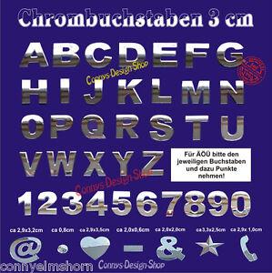 3-Stueck-3D-Chrom-Buchstaben-zum-aufkleben-3-cm-3-Zeichen-Chrombuchstaben