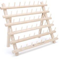 Sewing Thread Rack Organizer 60 Spools Holder Wooden Wall Storage Accessories