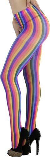 ToBeInStyle Women/'s Spandex Opaque Pantyhose with Verticle Rainbow Stripes