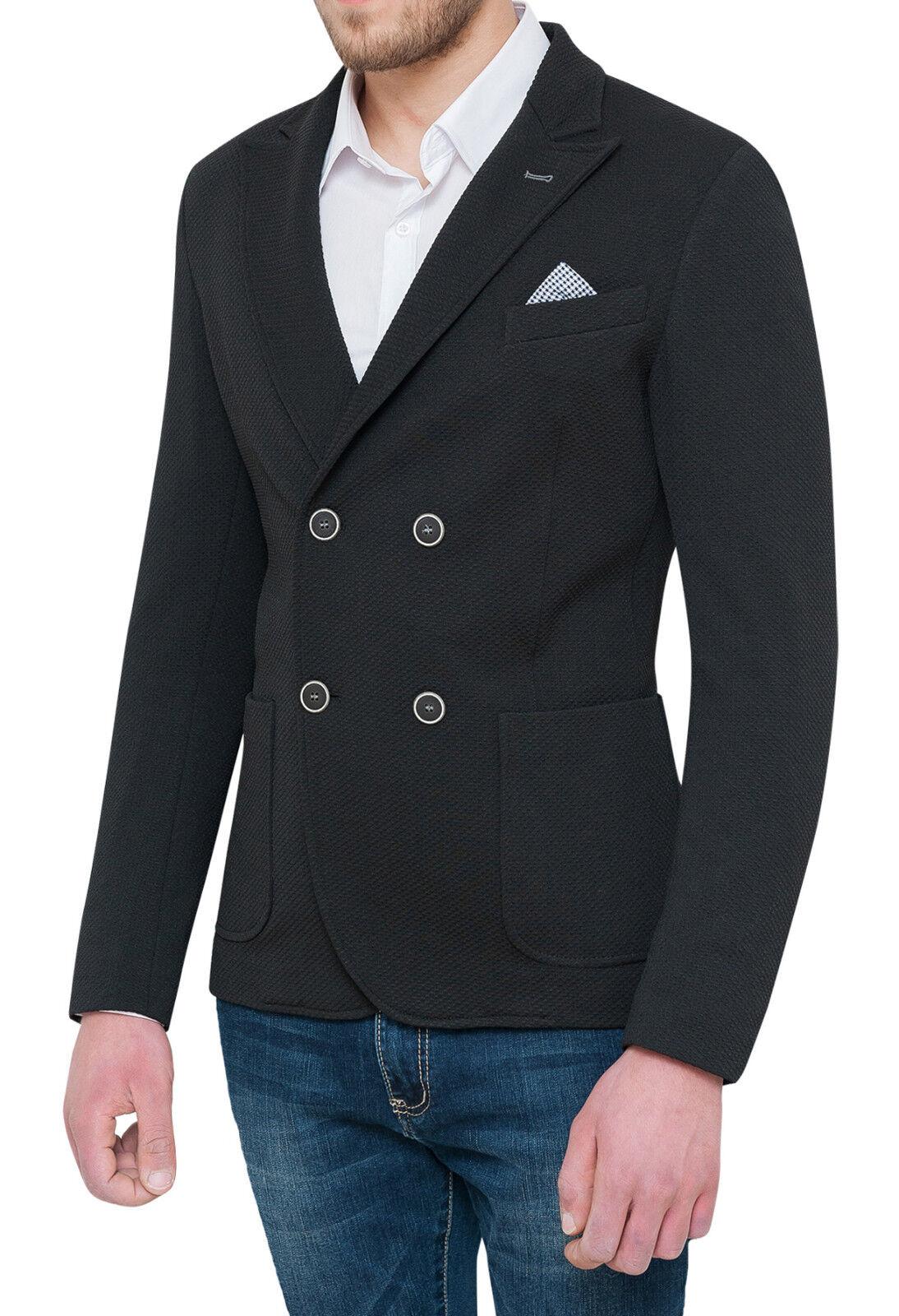 Jacke Blazer Schwarz Herren Zweireihig Neu Elegant Casual Formal aus Baumwolle
