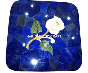 Marble-Coffee-Corner-Table-Top-Lapis-Lazuli-Rose-Flower-Inlaid-Rare-Decor-H2031