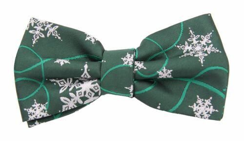 Weihnachtsfliege Grün mit Schneefloken von Fabio Farini Streifen Querbinder