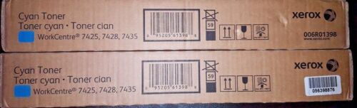 Set of 2 Xerox 006R01398 High Yield Cyan Toner Cartridge 7425 7428 7435 OEM