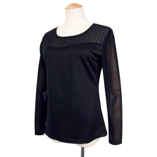Mode Frauen Langarm Schwarz Durchsichtige Tops Freizeithemden Elastische Bluse