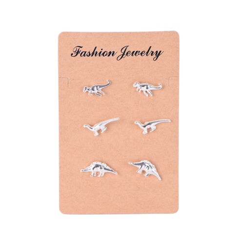 3 Pairs//Set Stud Earrings Animal Dinosaur Metal Stud Wedding Jewelry Earring ox