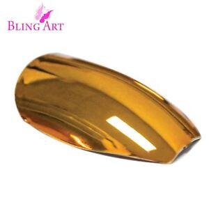 False-Nails-Gold-Metallic-Ballerina-Coffin-Bling-Art-Long-Fake-Tips-2g-Glue
