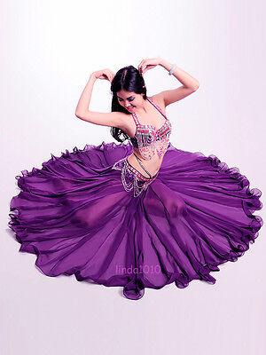 New Belly Dance Costume 3 Pics Bra&Belt&Skirt 34B/C 36B/C 38B/C 10 Colors