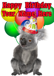 Koala nnc75 party hat happy birthday greeting cards personalised a5 image is loading koala nnc75 party hat happy birthday greeting cards m4hsunfo