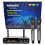thumbnail 1 - SONKEN WM3500 2X PROFESSIONAL UHF WIRELESS MICROPHONES WITH LED MIC FREQ DISPLAY
