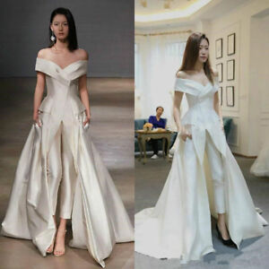 a229d97caed Details about Jumpsuit Formal Evening Pageant Party Dresses Prom Gowns Off  Shoulder Satin 2019