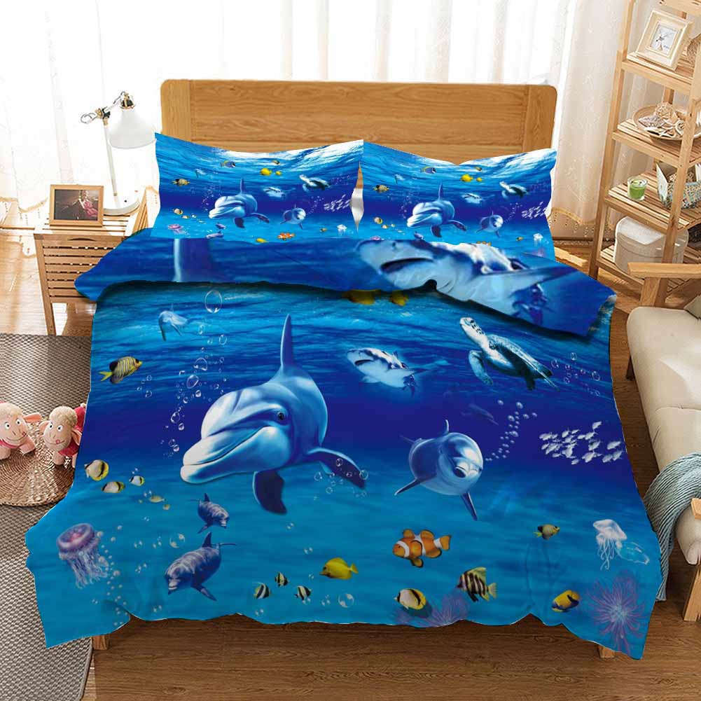 Whale Jellyfish 3D Printing Duvet Quilt Doona Covers Pillow Case Bedding Sets