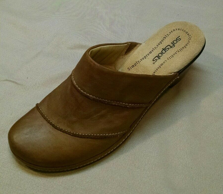 Softspots Women's Tan Leather high heel Clogs slip on Shoes, size US 10M, 727140
