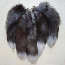 Genuine Silver Fox Tail Key Chain Fur Tassel Bag Tag Charm Key Ring