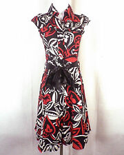 NWOT Hogo Color Red/Black/White Button Front Dress Fit & Flare Skirt sz S
