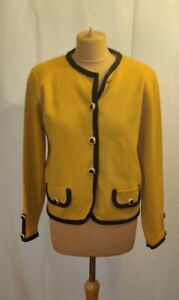 Vintage-St-Michael-M-amp-S-Knitted-Cardigan-UK-12-14-Mustard-Yellow-shoulder-pads