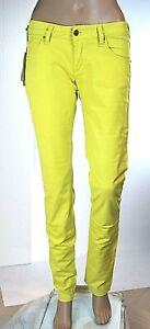 Jeans Donna Pantaloni MET Italy C864 Gamba Dritta Giallo Tg 28 veste piccolo
