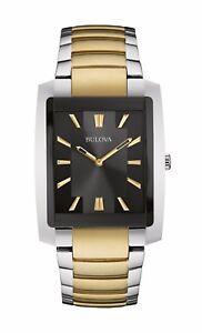 Bulova-Classic-Men-039-s-98A149-Quartz-Rectangle-Case-Black-Dial-Two-Tone-35mm-Watch
