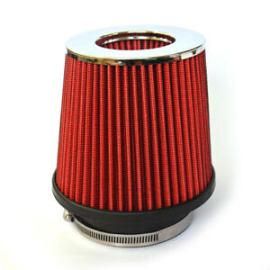3Inch Chrome Inlet Short Ram Cold Air Intake Round Cone Air Filter Red