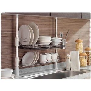 Image Is Loading Stainless Fixing Pole 2 Tiers Dish Drying Rack