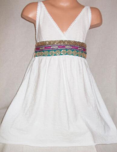 GIRLS WHITE TRIBAL ETHNIC SEQUIN TRIM SHORT LENGTH BOHO PARTY TUNIC DRESS TOP