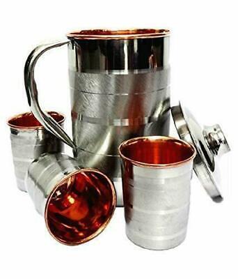 Gefertigt Nach 1945 Zielsetzung Stahl Kupfer Luxuxentwurf Wasserkaraffe Mit 3 Gläser Trinkgefäße Set Servierwa GüNstige VerkäUfe Metallobjekte