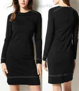 M-amp-S-BLACK-and-Navy-Spotted-Long-Sleeve-Shift-Dress