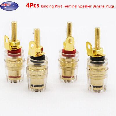 2X Amplifier Speaker Terminal Binding Post Banana Plug Connector 4mm Gold  !
