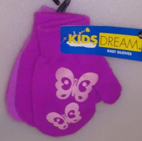 Details about  /KIDS DREAM 2 PAIR SET GIRLS KNIT MITTENS DK PURPLE W//  /& LT PURPLE 1 SIZE A-4
