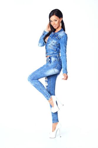 Nuovo N Moda Corto Alla Bottoni Scolorita Blu Con 595 Donna Giacca Sexy dHvnxwd
