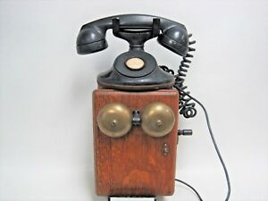 Antique-315H-Bell-System-Western-Electric-F1-No-Dial-Telephone-Oak-Ringer-Box