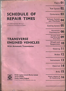 BMC-Repair-Times-Transverse-Engine-with-Auto-Transmission-Mini-1100-18-85-1969
