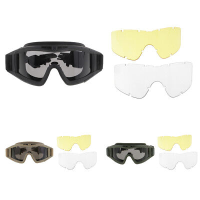 FAST MICH Tactical Goggle Glasses for Helmet with 3 Lens Shooting Hunting