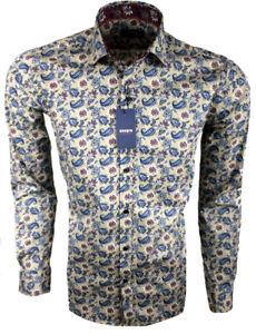 Herren-Hemd-Regular-mit-Muster-Freizeithemd-Blumen-Langarm-97-Baumwolle-M-3XL