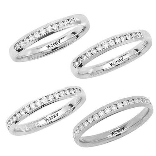 9ct White gold Channel Wedding   Eternity Ring Diamond Set