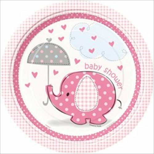 UMBRELLA ELEPHANT GIRL BABY SHOWER LARGE PAPER PLATES (8) ~ Party Supplies Pink