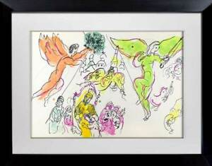 Marc-CHAGALL-Color-Lithograph-LIMITED-Ed-Sketch-for-Mozart-1965-w-Archival-FRAME