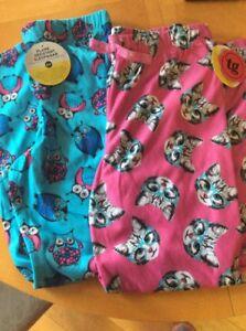 Total Girl Lote De 2 Pijama Pantalones Talla Extra Grande 16 Rosa Gatos Y Azul Buhos Ebay