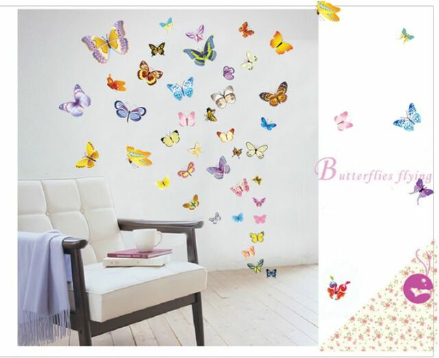colorful 50 transperent butterfly wall stickers mural art home