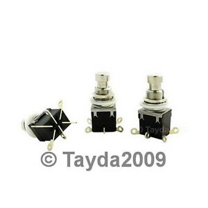 5-x-2PDT-DPDT-Latching-Stomp-Foot-Pedal-Push-Button-Switch-Solder-Lugs-FREE-SHIP