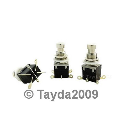5 x 2PDT DPDT Latching Stomp Foot Pedal Push Button Switch Solder Lugs FREE SHIP