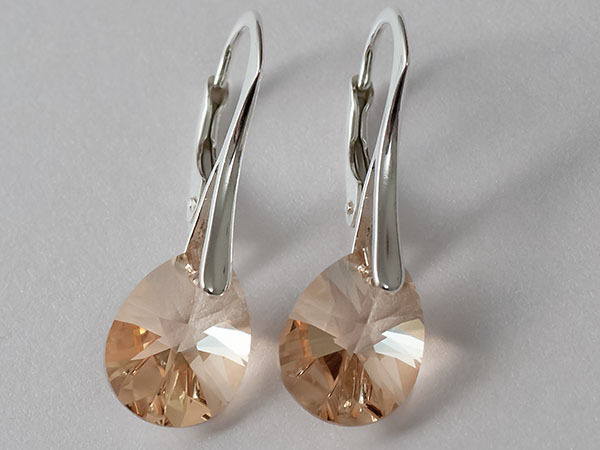 PEAR 12 GENUINE SWAROVSKI CRYSTAL earrings  - STERLING SILVER 7 Colours