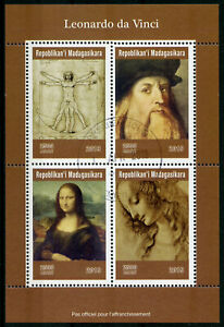 Madagascar-2019-CTO-Leonardo-Da-Vinci-Mona-Lisa-4-V-M-S-ART-PAINTINGS-timbres