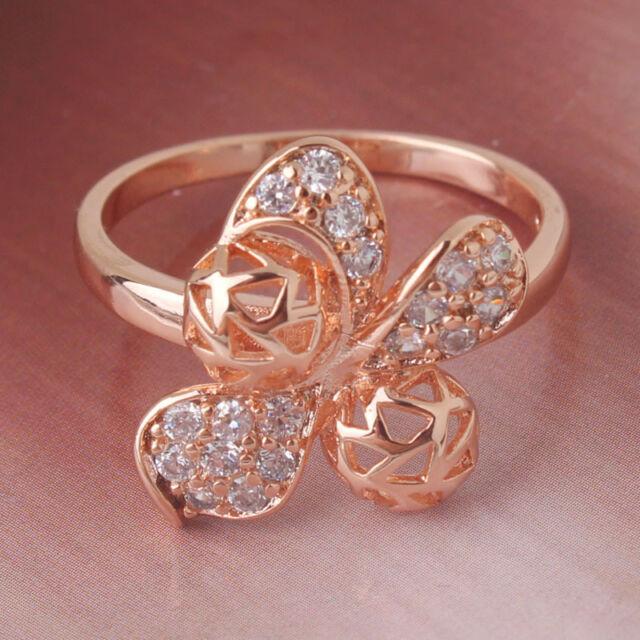 Flower ring! white sapphire 18k rose gold filled vintage style ring Sz5-Sz9