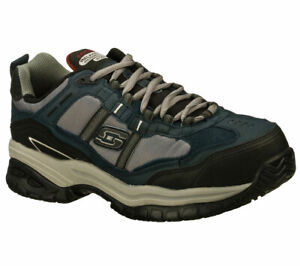 Skechers-Men-039-s-77013-Work-Relaxed-Fit-Navy-Grey-Composite-Toe-Safety-Work-Shoe