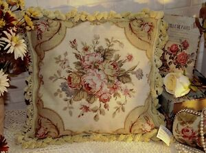 16-034-Country-Charming-Vintage-Soft-Shabby-Handmade-Needlepoint-Pillow-Cushion