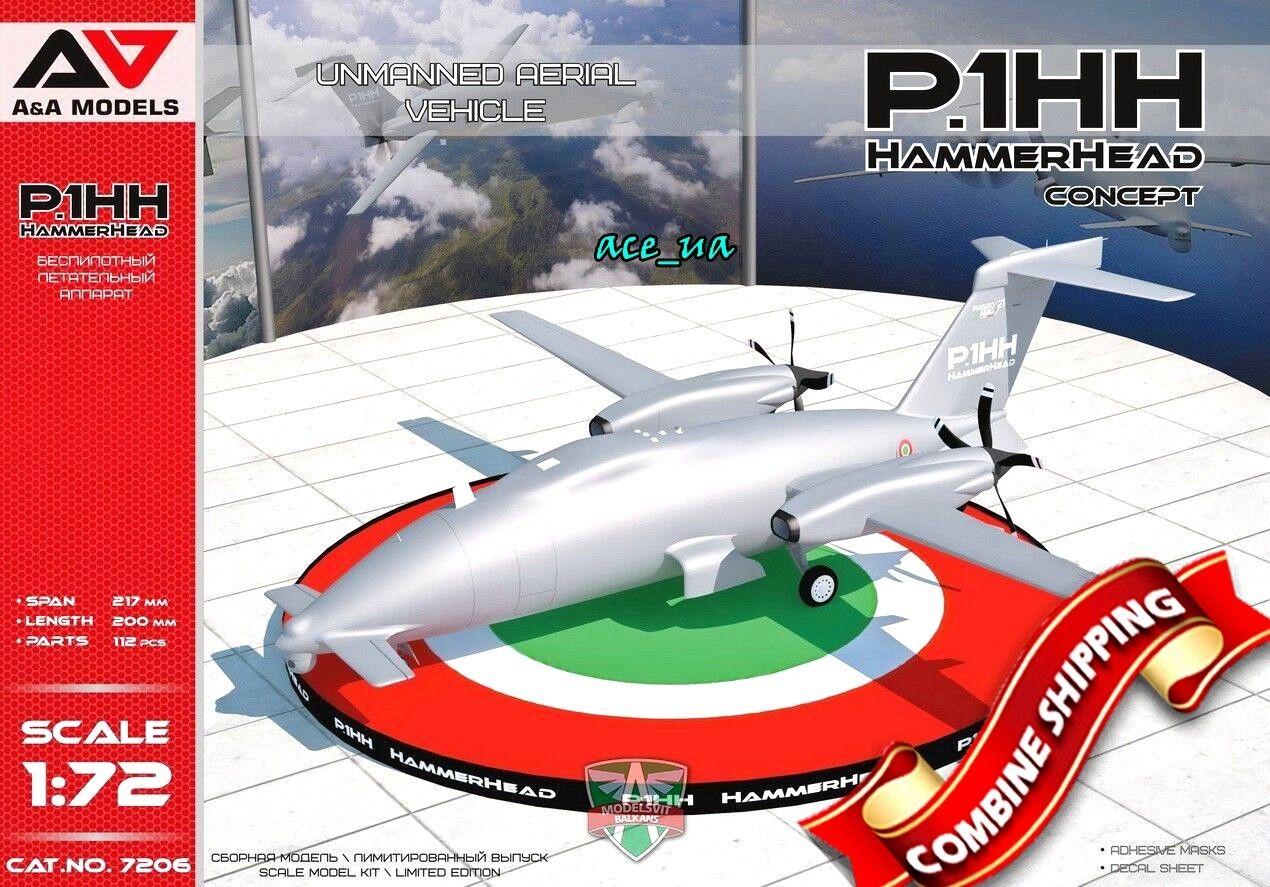 P1.HH Hammerhead Concept UAV (2x camo) Plastic Model Kit 1 72 A & A Models 7206