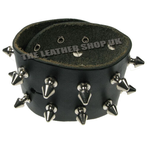 Gothic Spike Punk Studded 100/% Real Leather Wrap Round Cuff Bracelet Made In UK