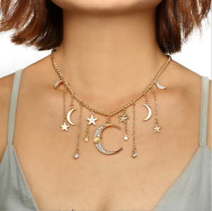 Women-039-s-Multilayer-Jewelry-Choker-Necklace-Crystal-Star-Moon-Pendant-Gold-Chain