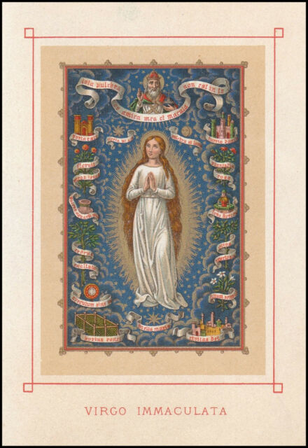 Old Holy Card Virgo Immaculata 19th Century Gold Print Immaculate Conception